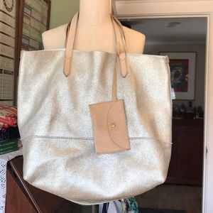 Shimmery gold leather tote